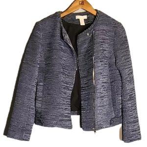H&M Blue Tweed Textured Moto Jacket - 10